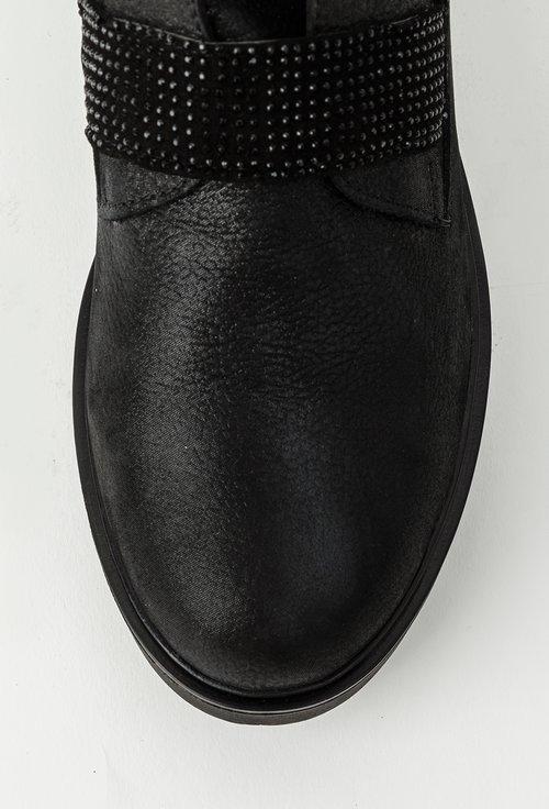 Ghete negru metalizat cu inseratii sclipitoare din piele naturala Amora