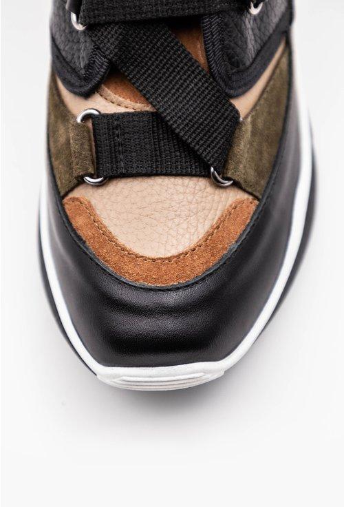 Ghete tip sneaker negre cu detalii verzi din piele naturala