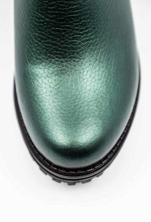 Ghete verzi din piele naturală cu elastic in partile laterale