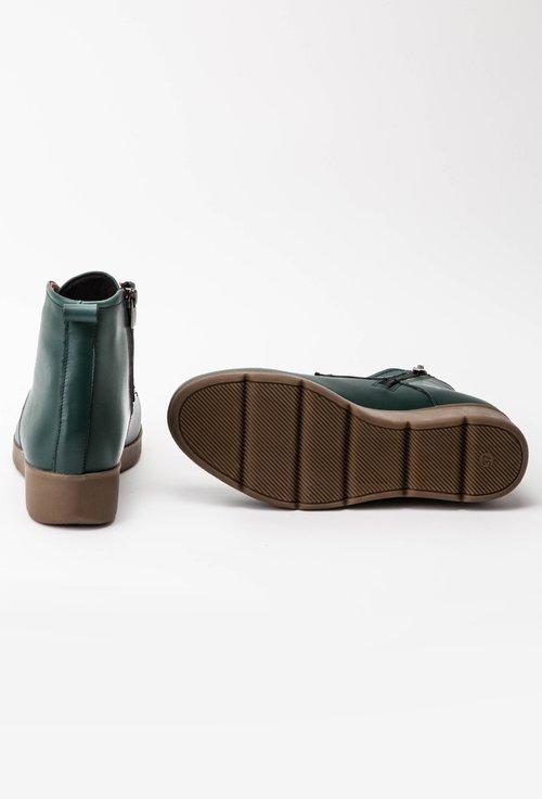 Ghete verzi din piele naturala cu platforma