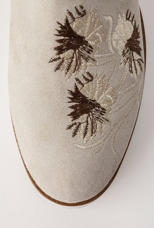 Mocasini alb fildes din piele naturala intoarsa Isolda