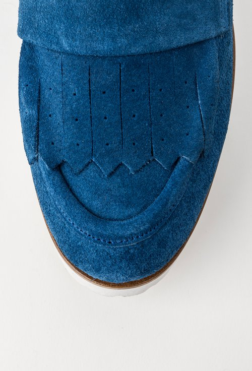 Mocasini albastri din piele naturala intoarsa Lidia