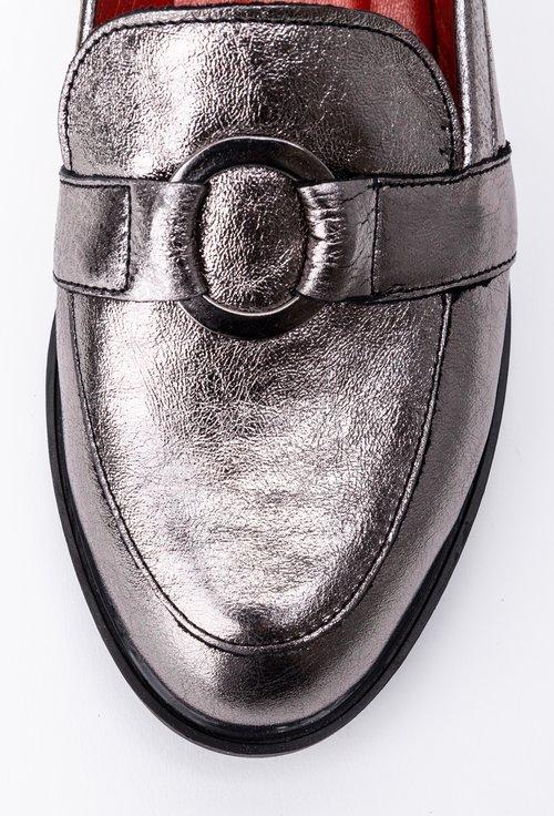 Mocasini argintii din piele naturala cu accesoriu inel