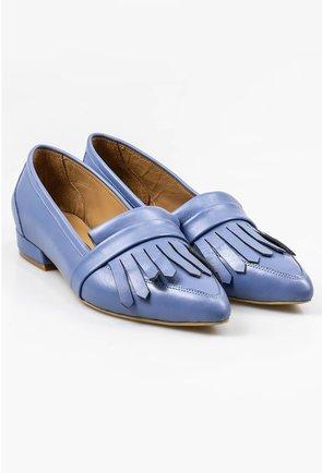 Mocasini bleu din piele naturala cu detaliu franjuri