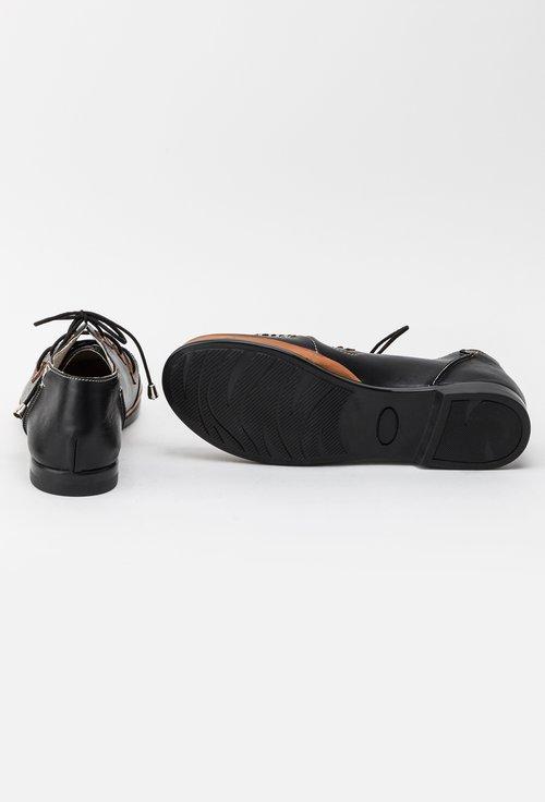 Pantofi casual negri din piele naturala Elvira