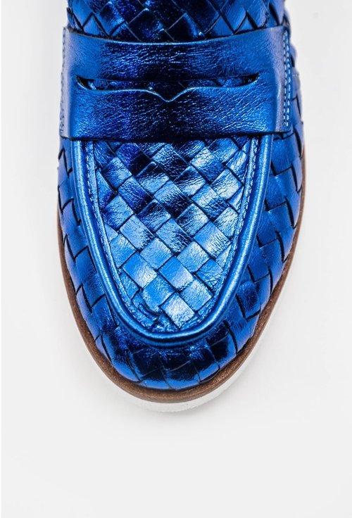 Mocasini nuanta albastru metalizat din piele naturala cu design impletit