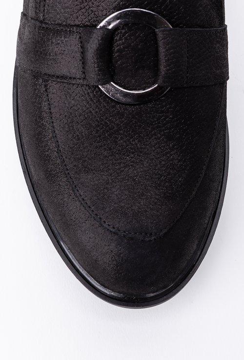 Mocasini nuanta negru sidefat din piele cu accesoriu inel