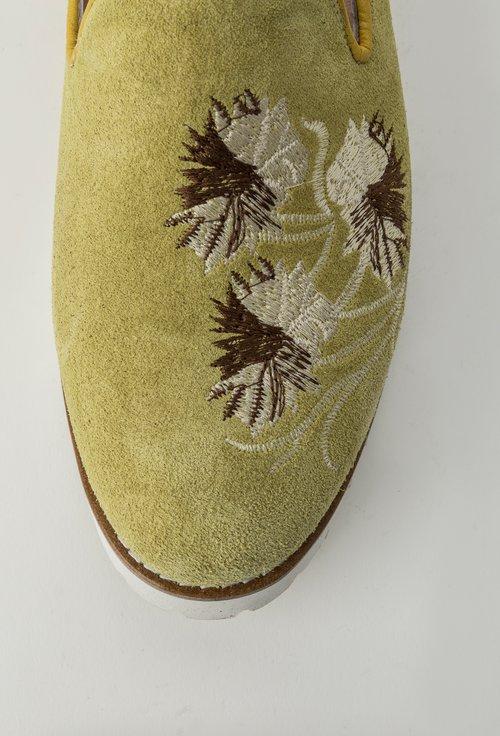 Mocasini nuanta verde lime din piele naturala intoarsa Isolda