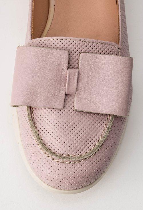 Mocasini roz din piele naturala Zina
