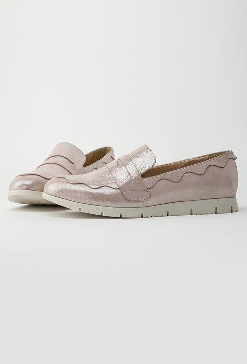 Mocasini roz pal sidefat din piele naturala Leticia