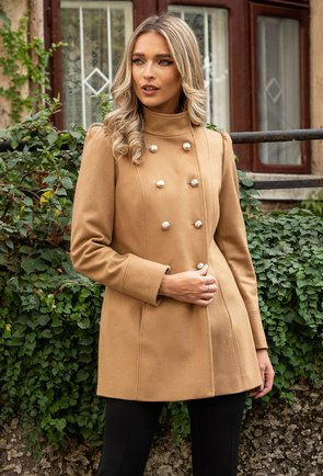 Palton bej din lana cu nasturi in fata
