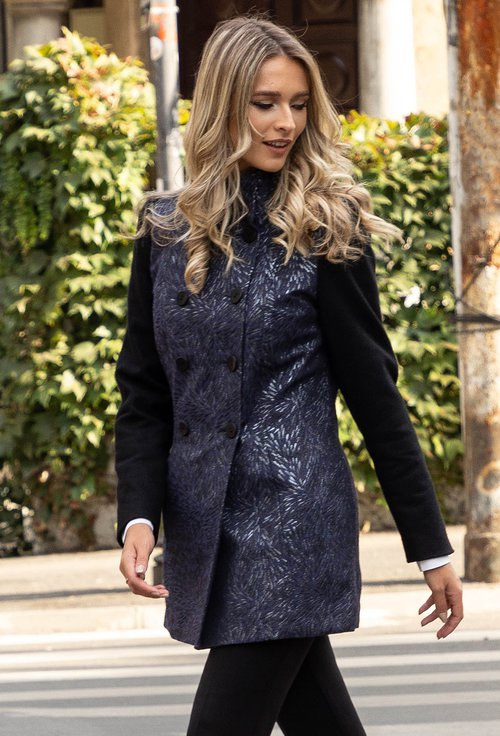 Palton bleumarin cu insertii sclipitoare