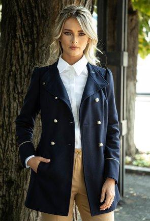 Palton bleumarin inchis din lana cu detaliu auriu la maneca