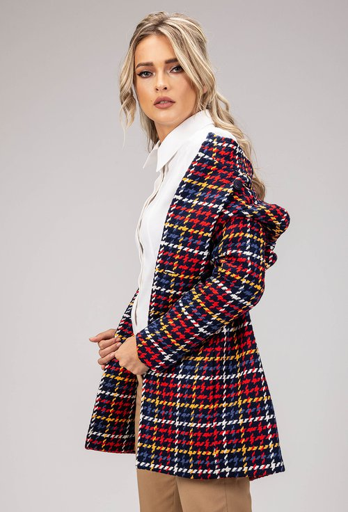 Palton din bumbac cu tesatura multicolora