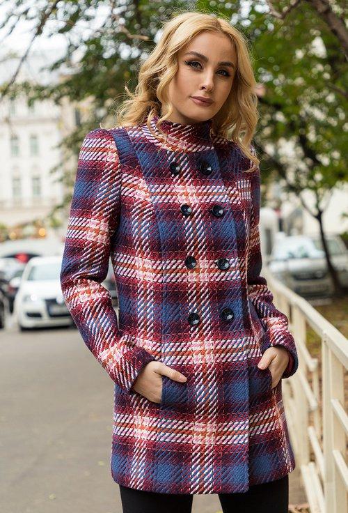 Palton din bumbac in carouri Leila