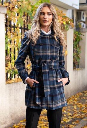 Palton din lana bleumarin in carouri