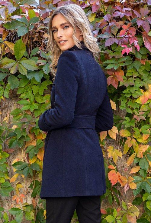 Palton din lana bleumarin inchis