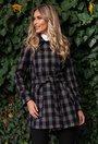 Palton din lana negru cu gri in carouri