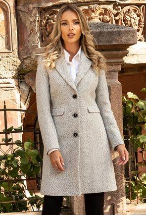 Palton gri cu revere si tesatura din lana