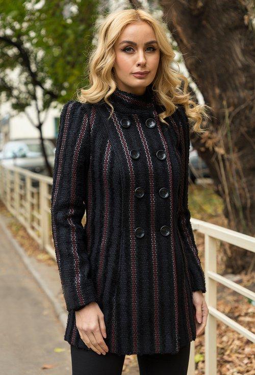 Palton negru cu dungi Kira