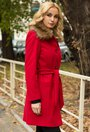 Palton rosu din lana Ofelia