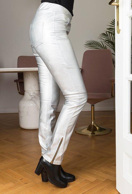 Pantaloni argintii din piele sintetica Elvira