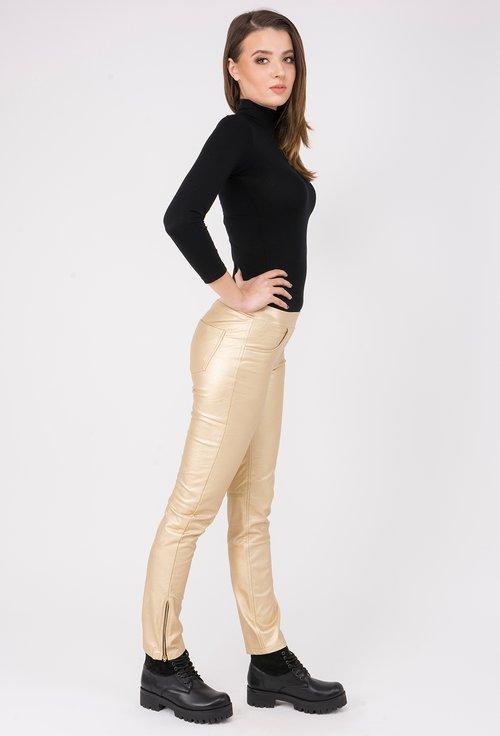 Pantaloni aurii din piele sintetica Elvira