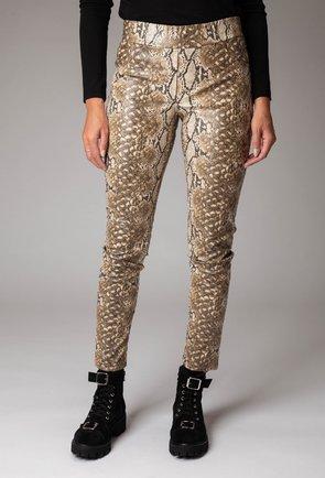 Pantaloni bej din piele ecologica cu snake print
