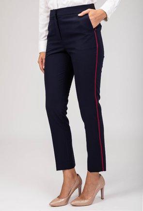 Pantaloni bleumarin cu dunga laterala rosie Sara