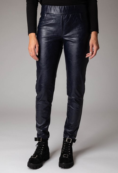 Pantaloni bleumarin inchis din piele ecologica