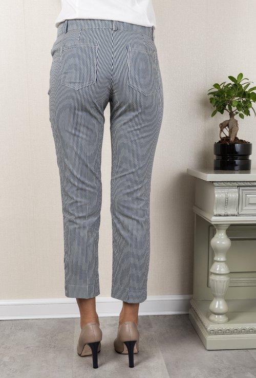 Pantaloni din bumbac navy cu dungi albe Cristine