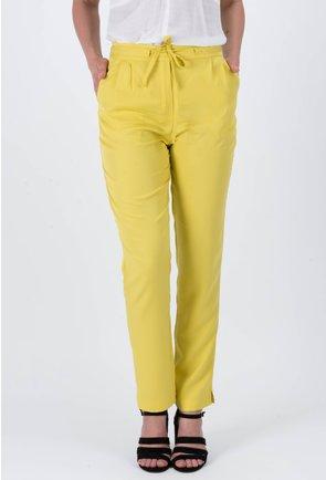 Pantaloni din viscoza galbeni Rene