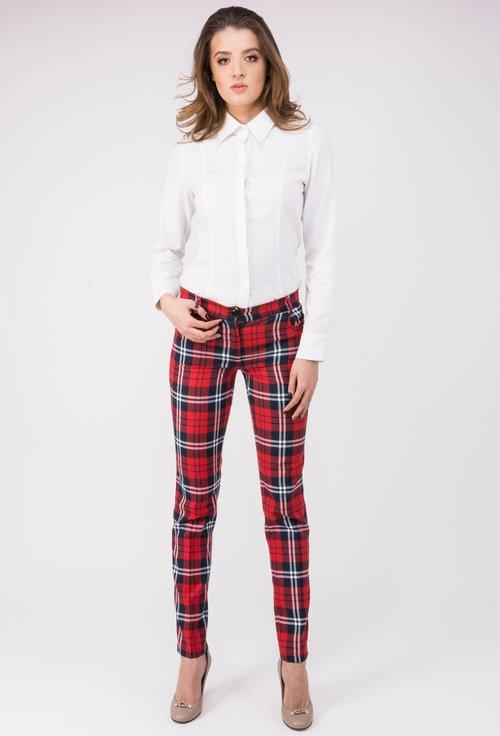 Pantaloni in carouri rosii cu bleumarin si alb Natasha