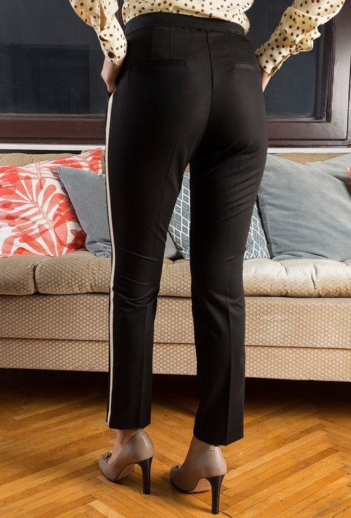 Pantaloni negri cu dunga laterala Angela