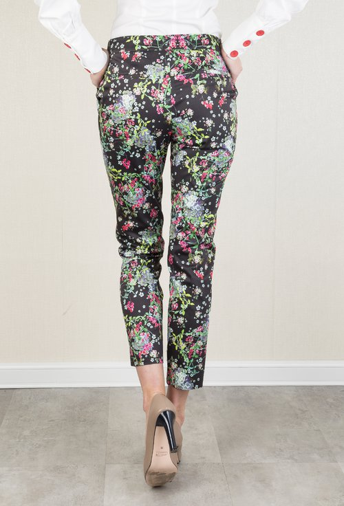 Pantaloni negri cu imprimeu floral colorat Flower