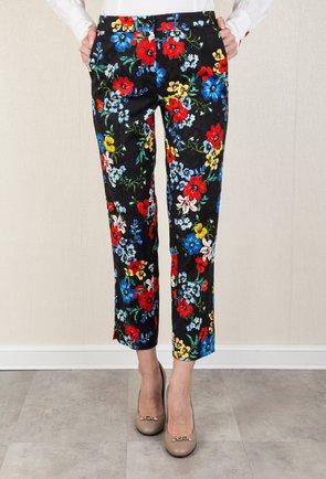 Pantaloni negri cu imprimeu floral colorat Jennifer