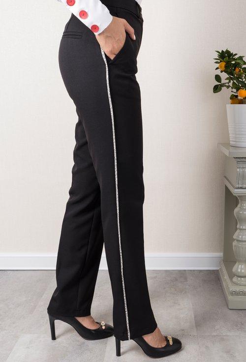 Pantaloni bleumarin cu vipusca crem cu auriu Edith