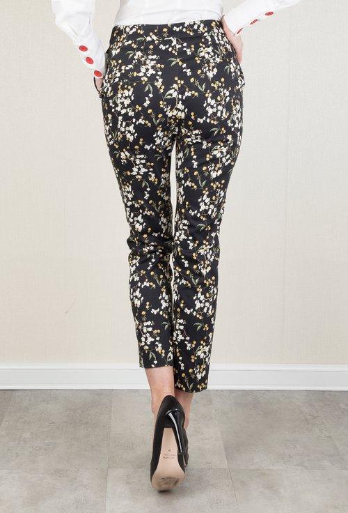 Pantaloni negri din bumbac cu imprimeu floral Jacob
