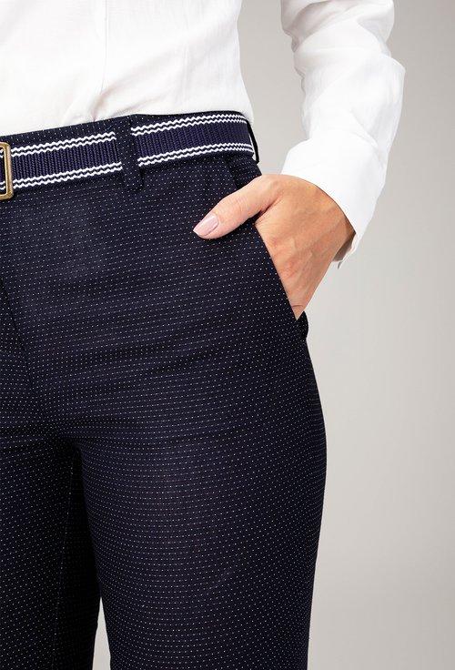 Pantaloni office bleumarin cu buline mici albe Joly