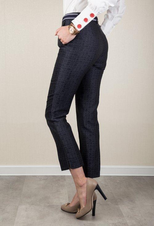 Pantaloni office bleumarin cu imprimeu in relief Janette