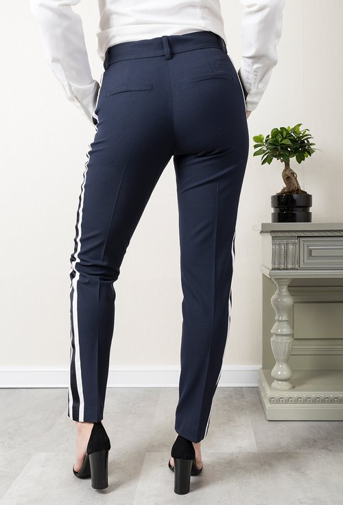 Pantaloni office bleumarin cu vipusca alba Alfie