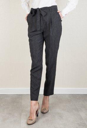 Pantaloni office gri inchis cu dungi verticale Raina