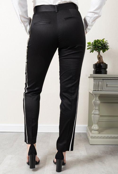 Pantaloni office negri cu vipusca alba Crissie