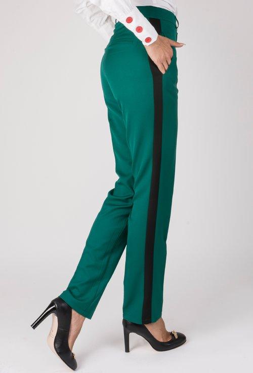 Pantaloni verzi cu vipusca neagra Rona