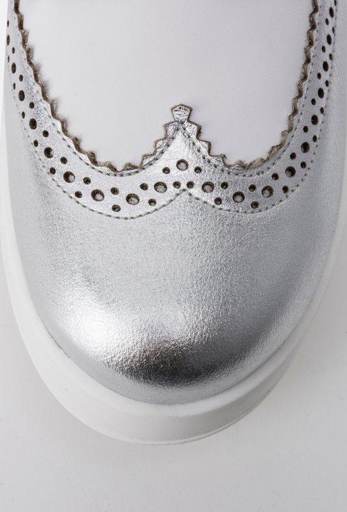 Pantofi alb cu argintiu din piele naturala Arisa
