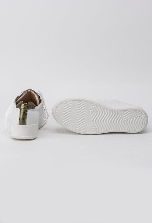 Pantofi alb cu kaki metalizat din piele naturala Gold
