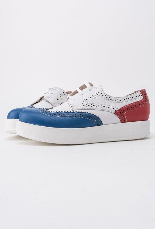 Pantofi alb cu navy si rosu din piele naturala Roxie