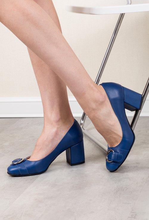 Pantofi albastri din piele naturală Adele