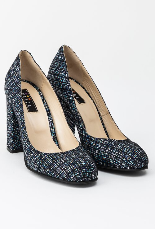 Pantofi albastri din piele naturala Avena