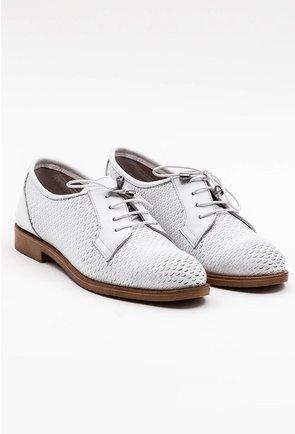 Pantofi albi din piele naturala cu detalii abstracte
